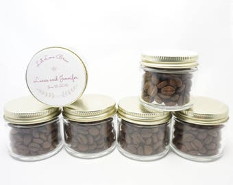 Coffee Favors in Jars - Gold Lid