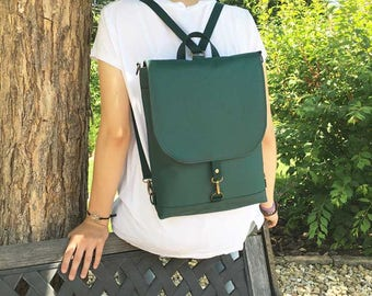 Teal Mini Waterproof Backpack, Vegan Pack, Crossbody Bag
