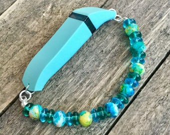 Fitbit Flex Bracelet, Activity Tracker Bracelet, Teal Bracelet, Blue Fitbit Beaded Bracelet, Fun Bracelet, Exercise Tracker, Turquoise Glass