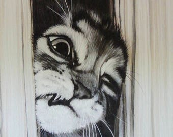 Cat print, cat art, feline art print, cat lovers gift, fun cat art, crazy cat, black and white cat print, A3 cat print