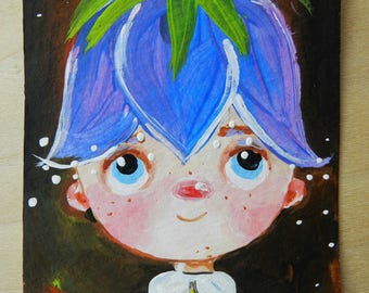aceo original artist trading card, mini art, Baby Bellflower, cute card,atc, tiny painting
