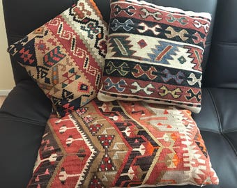 Turkish pillow, vintage kilim pillow, accent pillow, vintage Turkish rug pillow