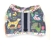 RESERVED for Maks // summer weight harness in farm critters print with tiny trees and grey oxford accent
