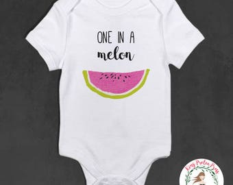 One in A Melon Baby Bodysuit, One in A Melon, one in a melon outfit, funny baby bodysuit, personalized baby bodysuit, personalized baby gift