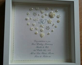 Personalised Heart 30th Pearl Wedding Anniversary frame, personalised Button Art, Couples Keepsake, Box Frame, Gift, Present