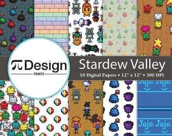 "Stardew Valley Inspired 12""x12"" Digital Paper 10 Pack   Pixel Farming Pattern   8 Bit Gaming Paper   Junimo Pattern Paper   Video Game Craft"