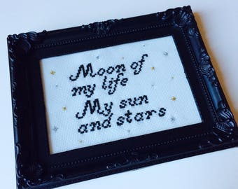 Game Of Thrones | Mother Of Dragons | Love | Moon Of My Life | My Sun And Stars | Framed | Cross Stitch | Completed | Home | Gift