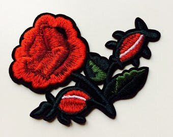 Red | Flower | Rose | Patch | Cute | Hipster | Trendy | Emo | DIY | Fashion | Retro