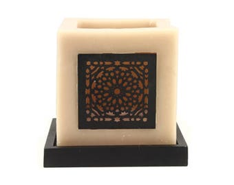 Moroccan Candle Holder w/wood screen piece