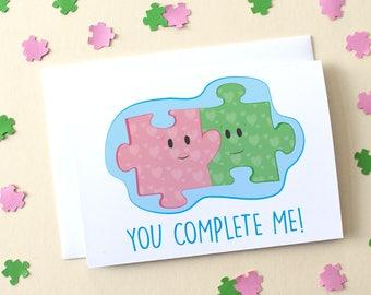 You Complete Me Jigsaw Illustration Card (Love/Marriage/Anniversary/Girlfriend/Boyfriend/Partner/Adore/Engagement/Valentines)
