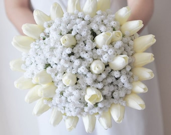 Real Touch White Ivory Tulip Baby's Breath Bridal Bridesmaid Bouquet Groomsmen boutonnières Set Choose ribbon color Real Touch Bouquet