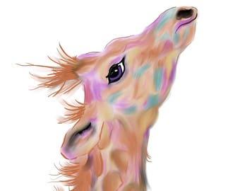 "Giraffe wet flat brush paint and ink drawing print - 8""x10"""