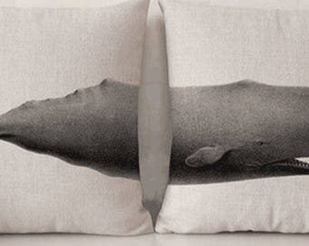 Whale Pillow, Animal Pillow, Pillow Case, Whale