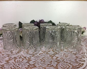 Vintage Pressed Glass Tumblers, Starburst Pattern