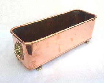 """Copper Planter, Claw Feet, Rectangular Footed Jardiniere or Cache Pot, Hand Made in England, Repousse Brass Lion Head Handles, 14"""" x 5"""" x 5"""""""