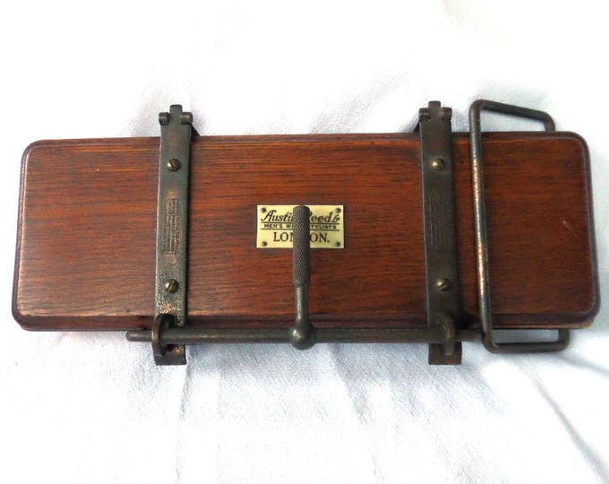 "FREE SHIPPING Antique Watts Cam Tie Press, Edwardian Era, Iconic Austin Reed Men's Wear of London, Solid Oak Excellent Condition 14"" x 6.25"""