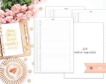 2018 month on 1 page vertical - MO1P - printable planner insert - Filofax A5 - Kikki K large - printable insert - print at home