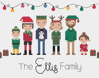 Christmas / Xmas Themed Custom-made Family Cross-stitch Portrait pattern PDF *DIGITAL file*