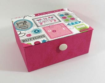 Fuchsia pink sewing - sewing box - box jewelry box