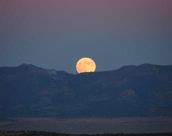 Photo- Moon Rise Titled-Rising Over the Magdalenas