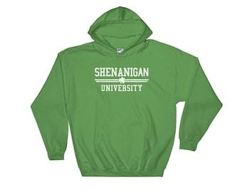 Funny St. Patricks Day Irish Shamrock Shenanigan University Ireland Green Beer Hooded Sweatshirt