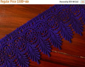 10% OFF Blue Lace Trim, Embroidered Trim, Indian Fabric Trim, Bridal Wear Embellishment, Indian Ribbon