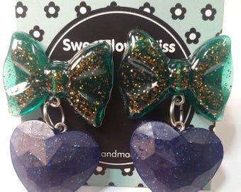 Heart/Bow/Gift for her/Girly/Stud Earrings/Resin earrings/Resin/Resin jewelry/Handmade/Cute/Valentine's day/heart