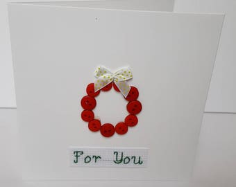 For You button wreath card