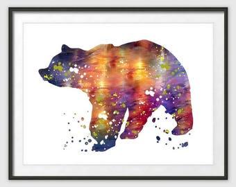 Digital Download,Bear Art Print, Bear Decor, Bear Watercolor Art, Bear, Bear Wall Decor