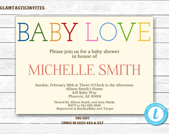 Gender Neutral Baby Shower Invitation Template, Baby Love Baby Shower Invitation, Gender Neutral, Baby Shower Invitation, You Edit, Template