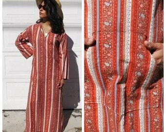 Hippie Prairie Print Maxi Dress with Hood