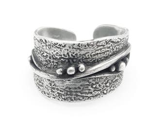 Adjustable Silver Wide Band Ring | Silver Adjustable Ring | Free Form Ring | Abstract Wide Ring | Metal Clay Jewelry | Silver ClayJewelry