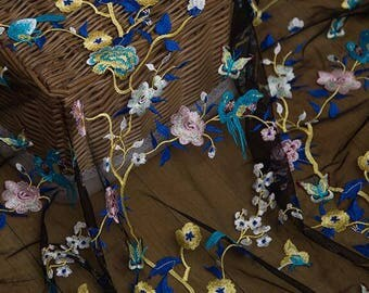 Heavy Embroidery Lace Fabric DIY Fashion Cloth Embroidery Lace Fabric with Colorful Embroidery