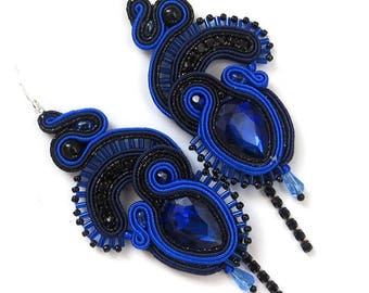 Valentine's gift, Soutache earrings, blue earrings,  Bridesmaid gift idea-for-women gift, wedding earrings, navy blue dangle earrings
