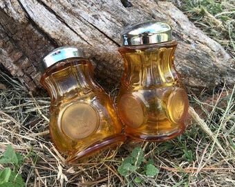Amber Coin Glass Salt and Pepper Shakers, Vintage Glass Shakers, Gift, Décor