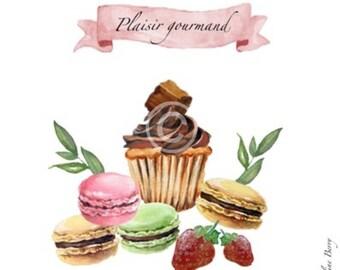 Map cake fun delicious cupcake, macaroons, strawberries.