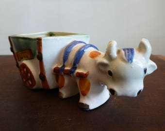 Made in Occupied Japan Ceramic Ox Pulling Cart