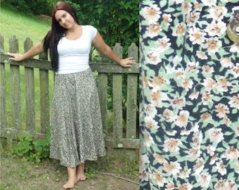 Vintage Yellow & White Floral Skirt, Maxi Skirt, Summer Skirt, Flowered Skirt, Floral Skirt, Yellow Flowers, Pellini Skirt, Size 11/12 Skirt