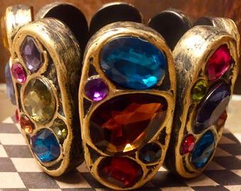 Wide Multi Color Rhinestone 1980's Bracelet