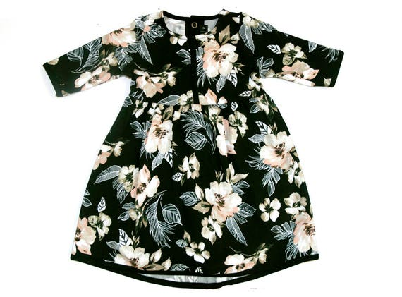 PERCE NEIGE - 3/4 sleeves skater dress, empire waist long dress, flared dress for kids: girls - Black with flowers print
