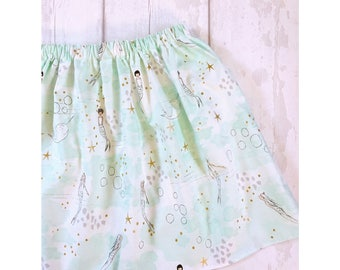 Mermaid Print Girls Skirt, Toddler Skirt, Babies Skirt, Mermaid Print Skirt, Aqua Mermaid Skirt, Mermaid Cake Smash Outfit