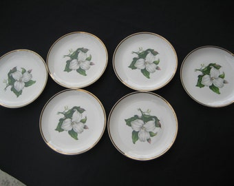 6 Limoges-American Bread /Butter Plates-Trillom White Glamour-22k accent