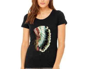 Women's Triblend PREMIUM Tshirt Native American Headdress Ladies T-Shirt Skull DreamCatcher Shirts