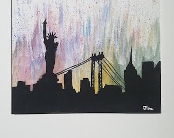 New York Skyline Silhouette 8x10 flat painting