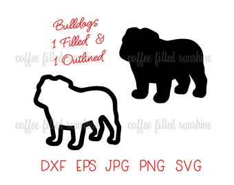 DIGITAL BULLDOG File, BULLDAWG Svg, Filled Bulldog, Outlined Bulldog, Cut File, Vector, Instant Download in dxf eps jpg png svg