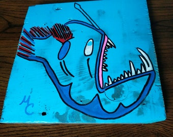 Big mouth angler fish folk art painting on reclaimed wood