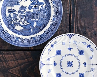 Pair of Blue and White Transferware Plates