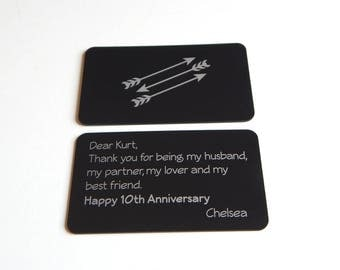 Engraved Wallet Card Insert Gift for Him, Etched Anniversary Gift for Husband, Valentine's Day Gift, Anniversary Gift from Wife, WCI011