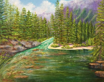 Tranquility at Silver Creek/St. Mary's Trail/ GlacierNationalPark/SilverCreek/peaceful/ smallpainting/nationalparkpainting/oilpaint/Montana