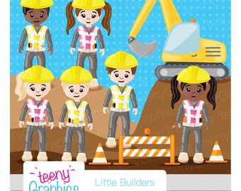 Little Builders Clip Art, Small Commercial Use, Kids, Little, Builders, Building, Role-play, Digital ClipArt, INSTANT DOWNLOAD - Clip07